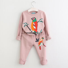 2pcs Bird Girls Clothing Sets For 2Y-9Y