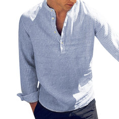 Mens Striped Printed Cotton Breathable V-neck T Shirts Long Sleeve Casual Tops