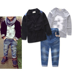 3Pcs Boys Casual Sets Printed T-Shirt + Coat + Long Jeans For 2Y-11Y