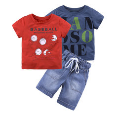 3Pcs Summer Style Kids Boys Clothing Set Printed T-shirts Tops + Jeans Shorts For 1Y-9Y
