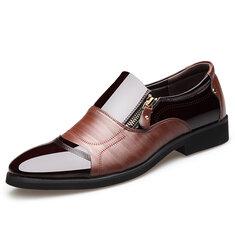 Men Color Blocking Side Zipper Pointed Toe Formal Dress Shoes