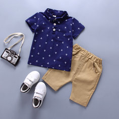 Toddlers Boys Clothes Sets Shirts Tops + Shorts Casual Suit For 1Y-7Y