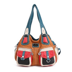 Women Washed PU Leather Multi-pockets Casual Crossbody Bag