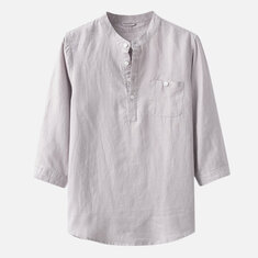 Mens Chinese Style Cotton Thin Solid Color Three Quarter Sleeve Vintage Casual Summer T shirts