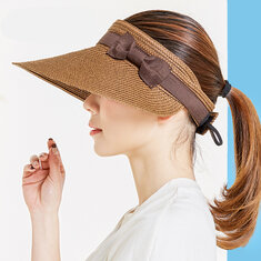 Adjustable Wide Brim Straw Hats Hollowed-out Top For Women