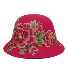 Women Wild Embroidery Peony Cotton Hat Casual Dating Hat Outdoor Windproof  Sunshade Hat c5668dadd827