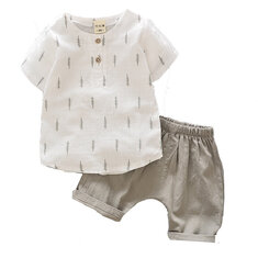 Leisure Toddler Boys Clothing Sets Cotton Linen Shirts+ Shorts For 2Y-7Y
