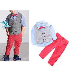 4Pcs Boys Formal Sets Bowknot Shirt + Vest Coat + Long Pants For 1Y-9Y