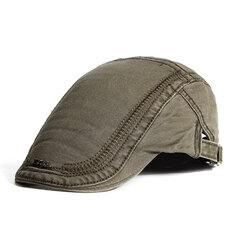 Mens Cotton Embroidery Sunshade Berets Caps Casual Travel Painter Forward Hat