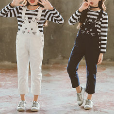 Cute Girls Suspender Pants Sets For 6Y-15Y