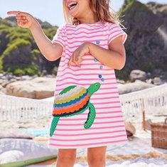 Desenhos animados Appliqued Girls Dress For 3-11Y