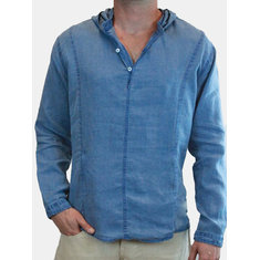 Men's Flax Breathable Hooded Long Sleeve V-Neck Buttons Decoration Loose T-Shirts