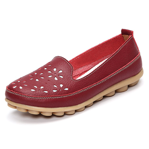 a80d59f2449 Hot-sale Big Size Soft Brethable Leather Floral Hollow Out Slip On Flat  Loafers - NewChic