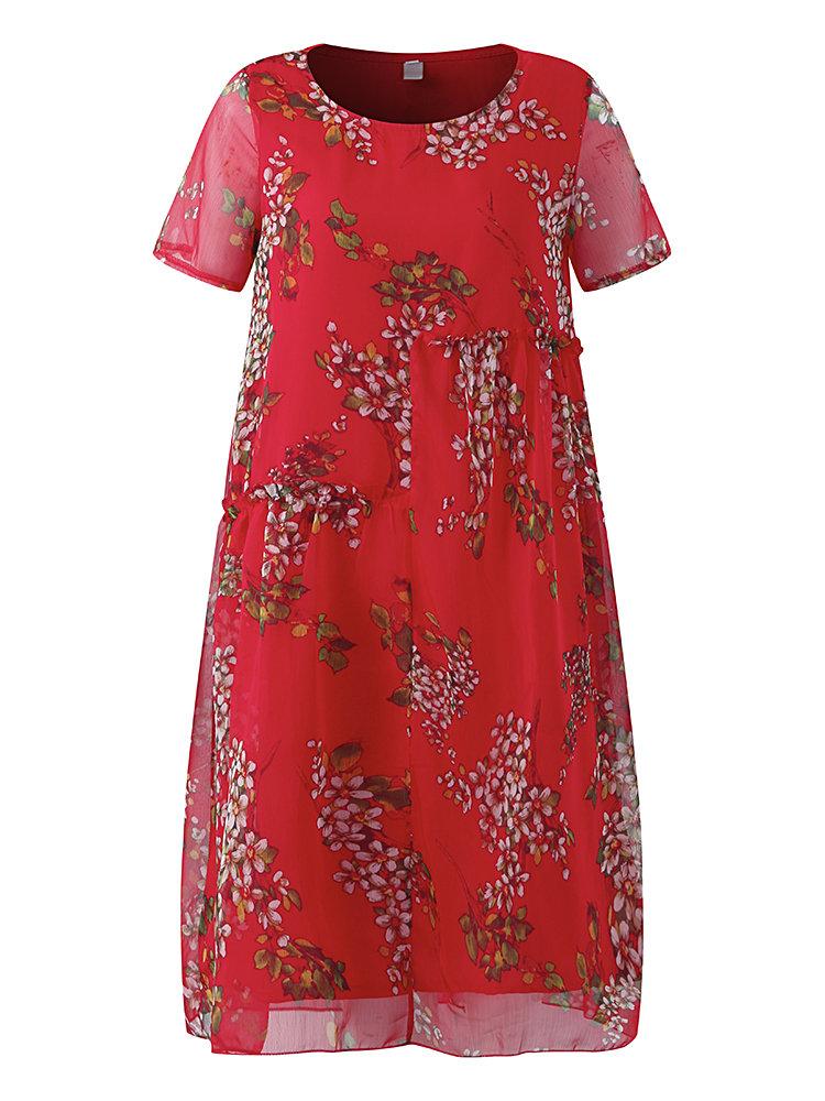 b6689ae047 Vestido elegante floral estampado de gasa con mangas cortas para mujeres
