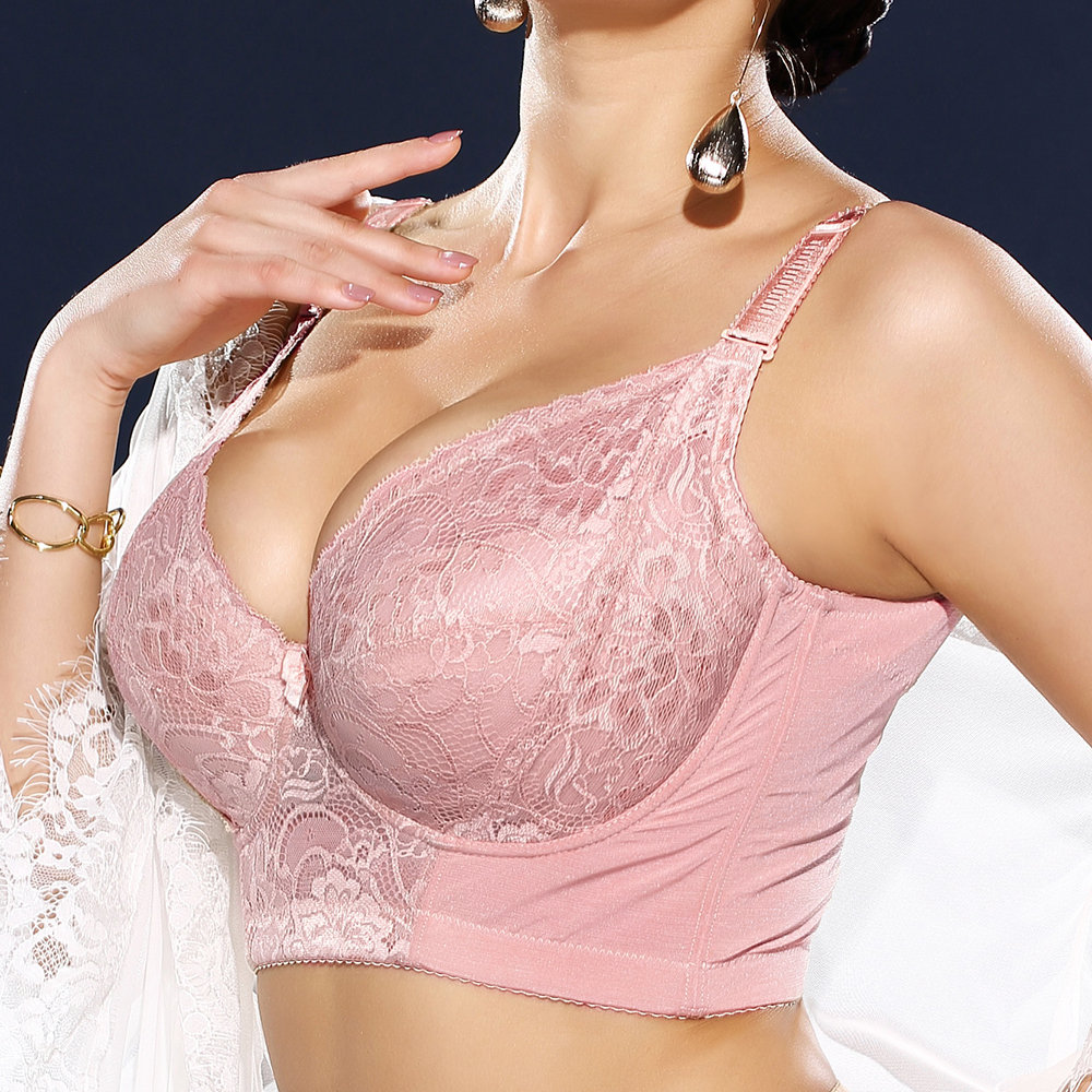 4529b4d040 Sexy Plus Size Embroidery Gather Plunge Thin J Cup Push Up Long Lined Lace  Bra - NewChic