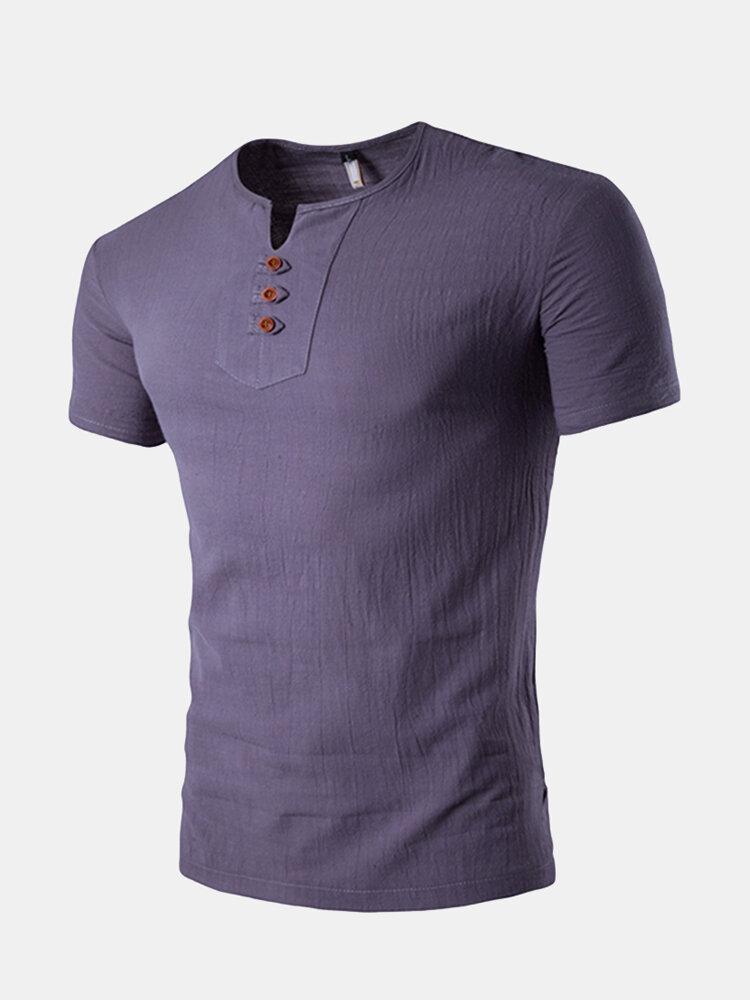 79bc67d75fd Tee shirt homme pas cher - Homme T-shirt D été En Lin Couleur Unie ...