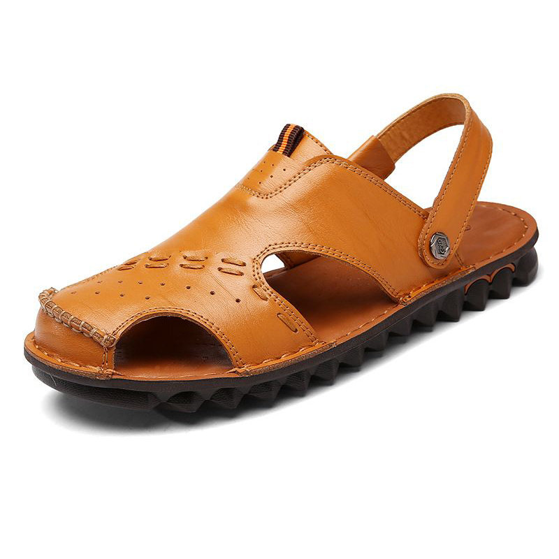 35b6cc90505b High-quality Men Closed Toe Genuine Leather Outdoor Water Friendly Sandals  - NewChic