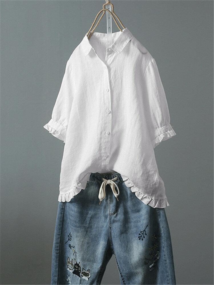 83a0656ddf67e Lace Button Turn Down Collar Solid Color Shirt Cheap - NewChic
