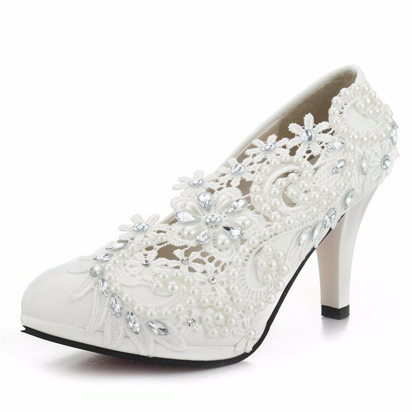 9983ba9f060 8cm Lace Flower Bead White Bridal Kitten Heel Wedding Shoes - NewChic