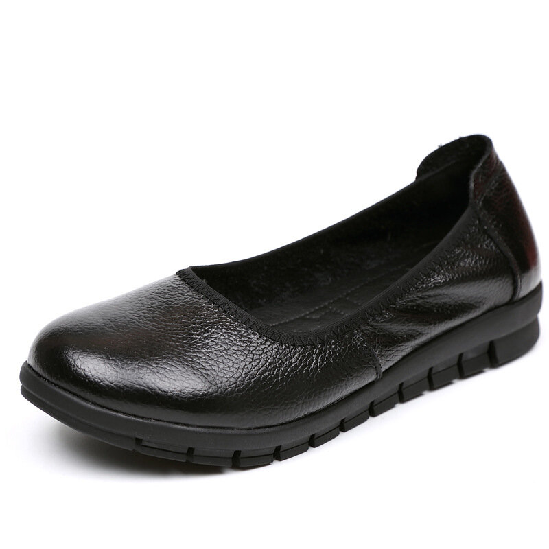 8bade304261 Hot-sale Socofy SOCOFY Casual Pure Black Slip On Leather Soft Flat Shoes -  NewChic