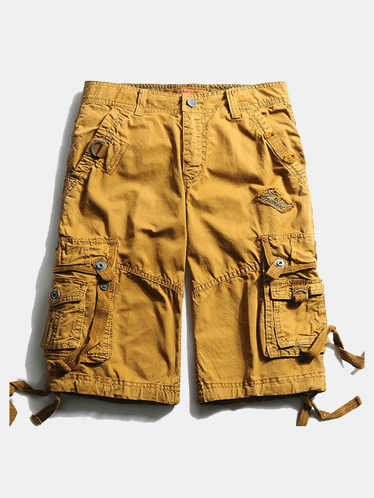 6df14b65219fe Casual Multi-Pocket Embroidery Cotton Loose Plus Size Cargo Shorts For  Menis Hot-NewChic