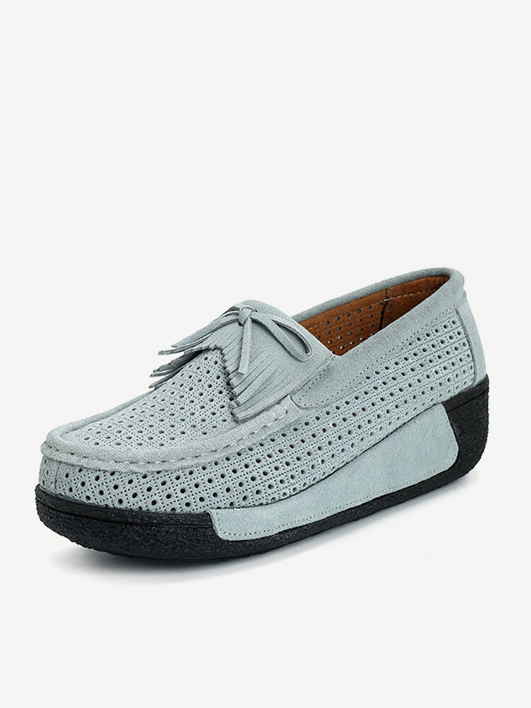 ece482d47b8 Comfortable Hollow Out Tassel Slip On Platform Casual Shoes - NewChic