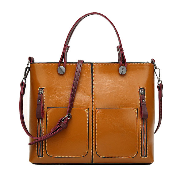 b157edc7e1 Hot-sale designer Women Oil Wax Leather Tote Bag Retro Shoulder Bags  Handbags Online - NewChic
