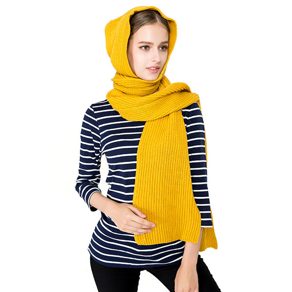 9092866a2cb Hot-sale 125CM Women Winter Warm Knitted Hooded Scarf Casual Soft ...