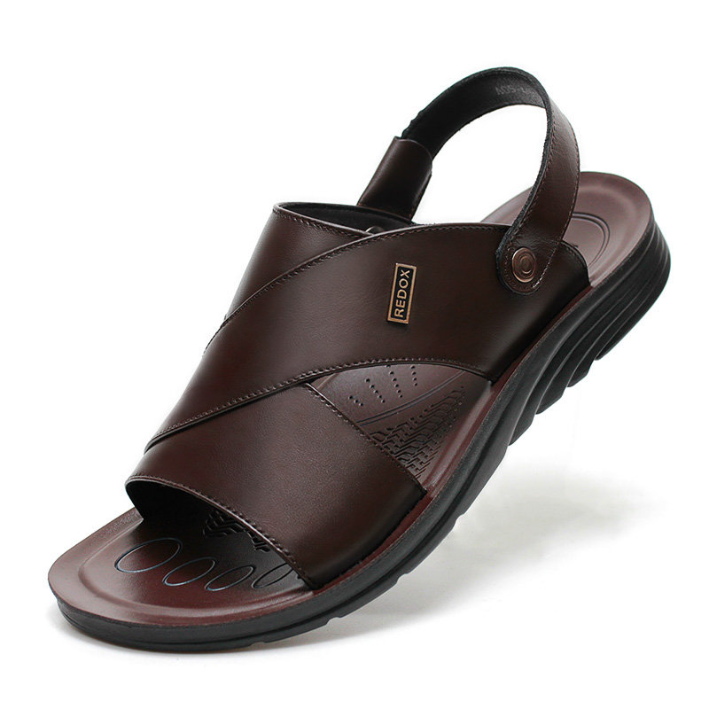 f94ae33a76b High-quality Men Genuine Leather Pure Color Non-slip Casual Beach Sandals -  NewChic