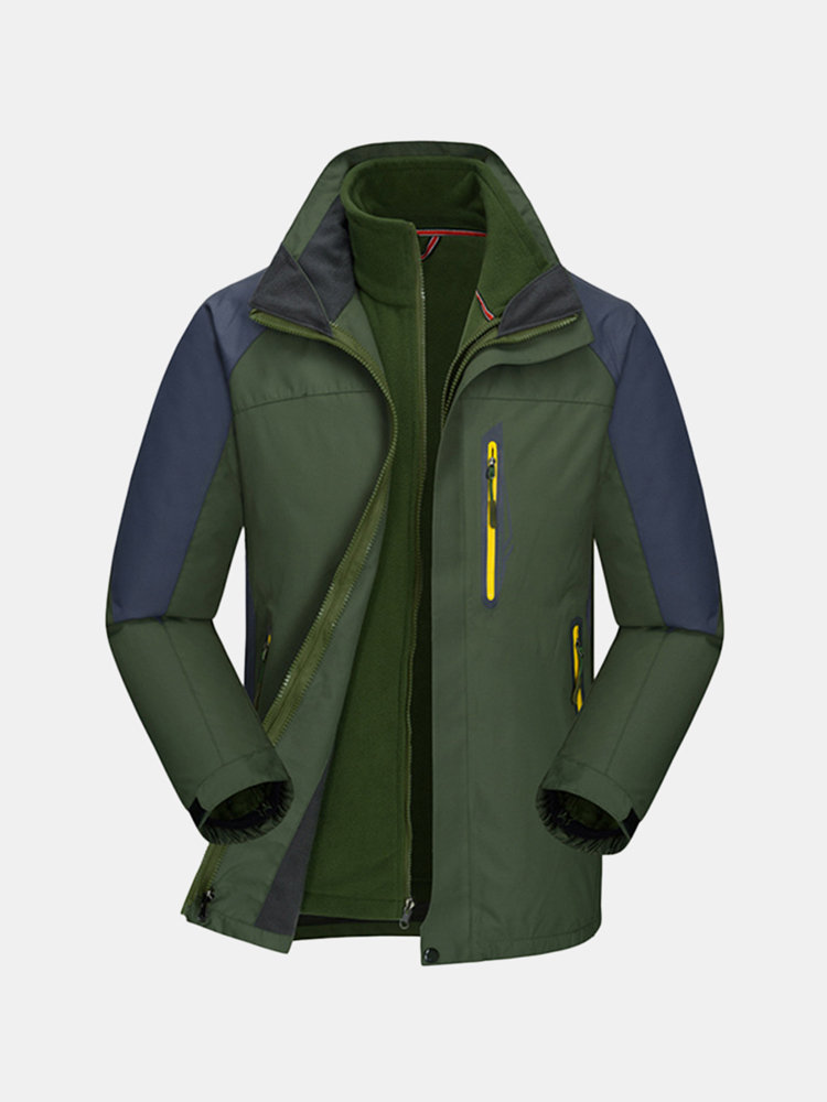 Plus Size Two Piece Suit Outdoor Waterproof Thicken Detachable Hood Jacket  for Mensales-NewChic 1e875b3c3