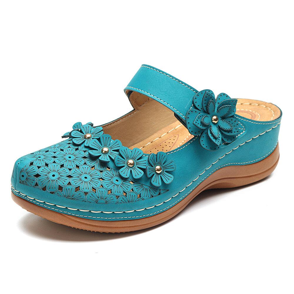 01e663808 High-quality Lostisy LOSTISY Flower Vintage Closed Toe Adjustable Hook Loop  Wedges Sandals - NewChic