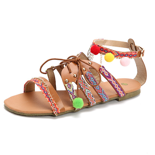 Large Size Bohemia Colorful Open Toe Buckle Flat Beach Sandals