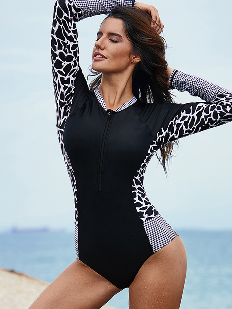 Zip Front Leopard Long Sleeve Surfing One Piece Swimsuit