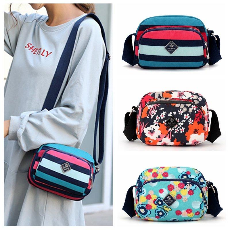 Women Nylon Floral Crossbody Bag