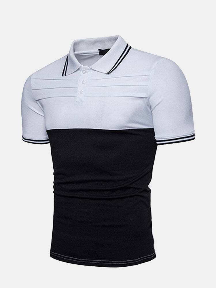 4f55d633929 Mens Summer Stylish Hit Color Patchwork Slim Fit Business Casual Polo Shirt  Sales on NewChic