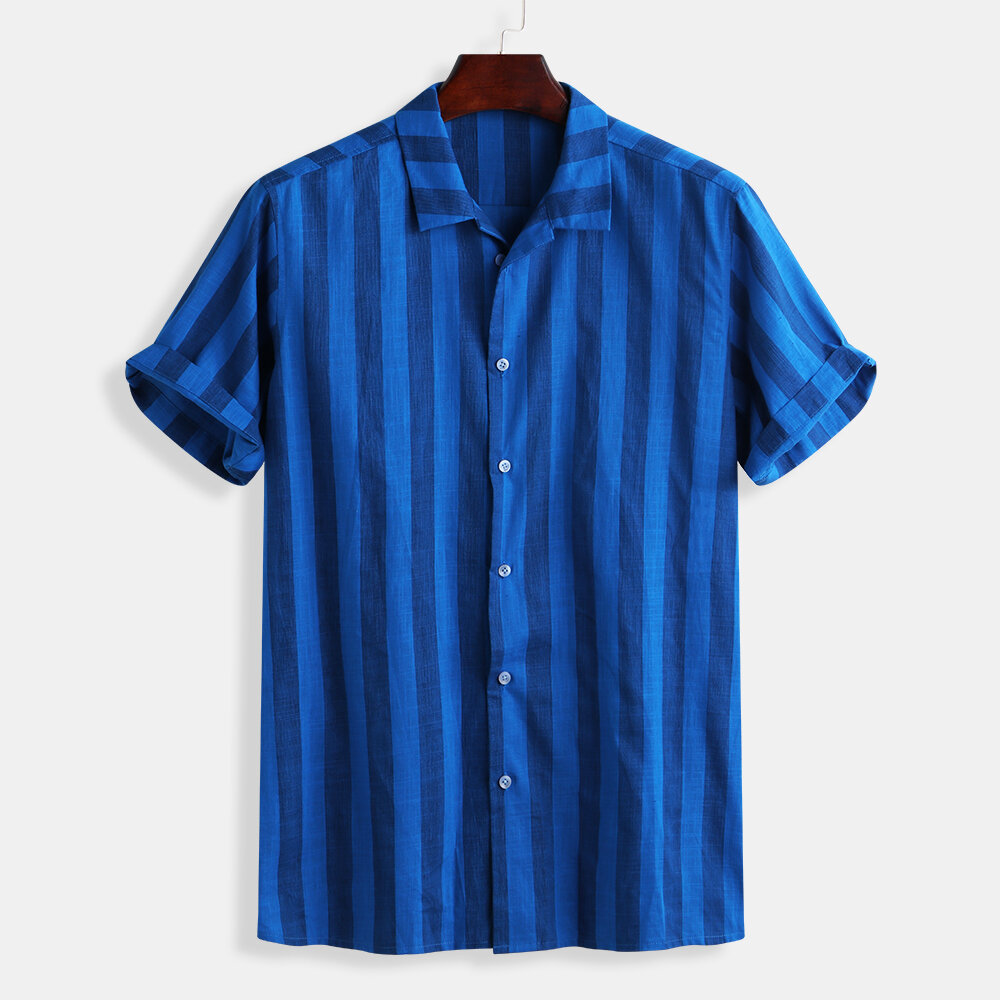 Striped Long Sleeve Cotton Loose Shirts