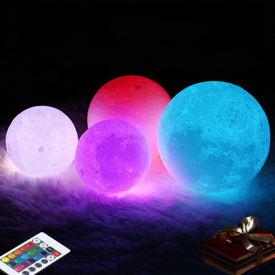 Decbest 3d Moon Lamp 16 Color Changing Usb Charging Led Night Light