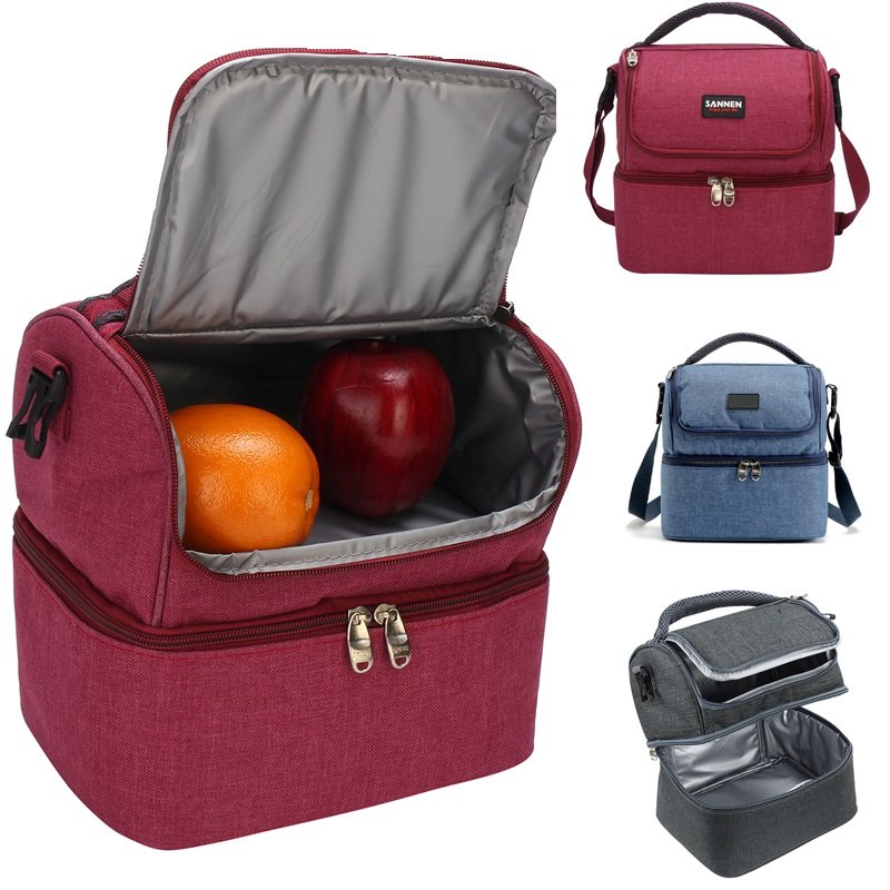 Insulated Double Decker Cooler Lunch Bag With Removable Shoulder Strap Picnic Tote Handbag Newchic
