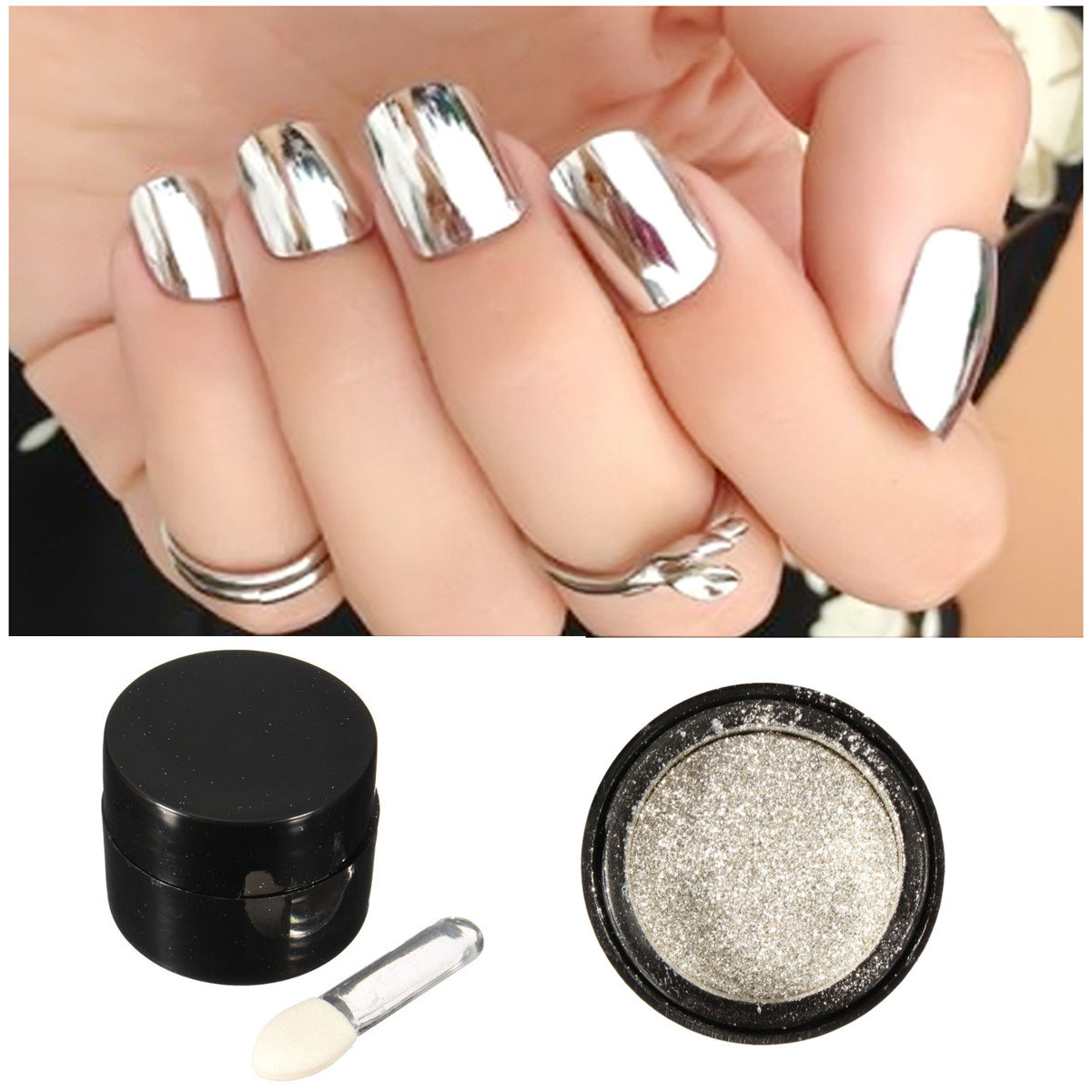 5g Silver Mirror Metallic Nail Powder Chrome Pigment Glitter Shining Dust Sequin Online Newchic