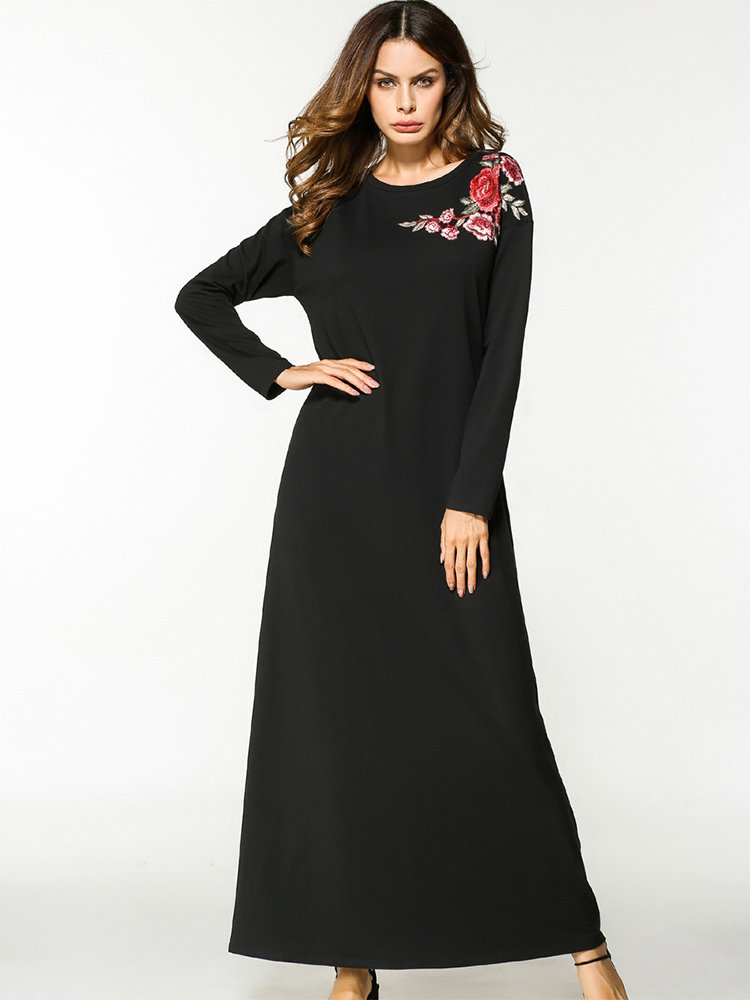 ee1f94a627d20 Hot saleZHI Casual Floral Embroidered Loose Long Sleeve O-neck Maxi Dress  Cheap - NewChic
