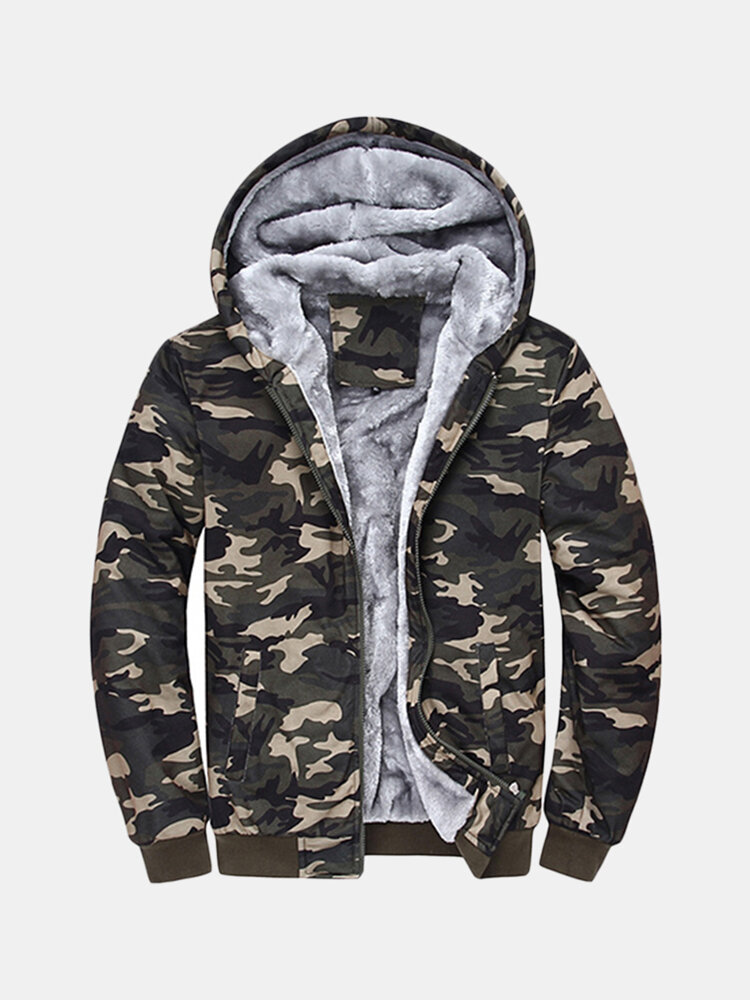 Cool Mens Winter Thick Warm Extra Fleece Lined Army Green Camo Zip Up  Casual Hoodies - NewChic 3d85fd70f