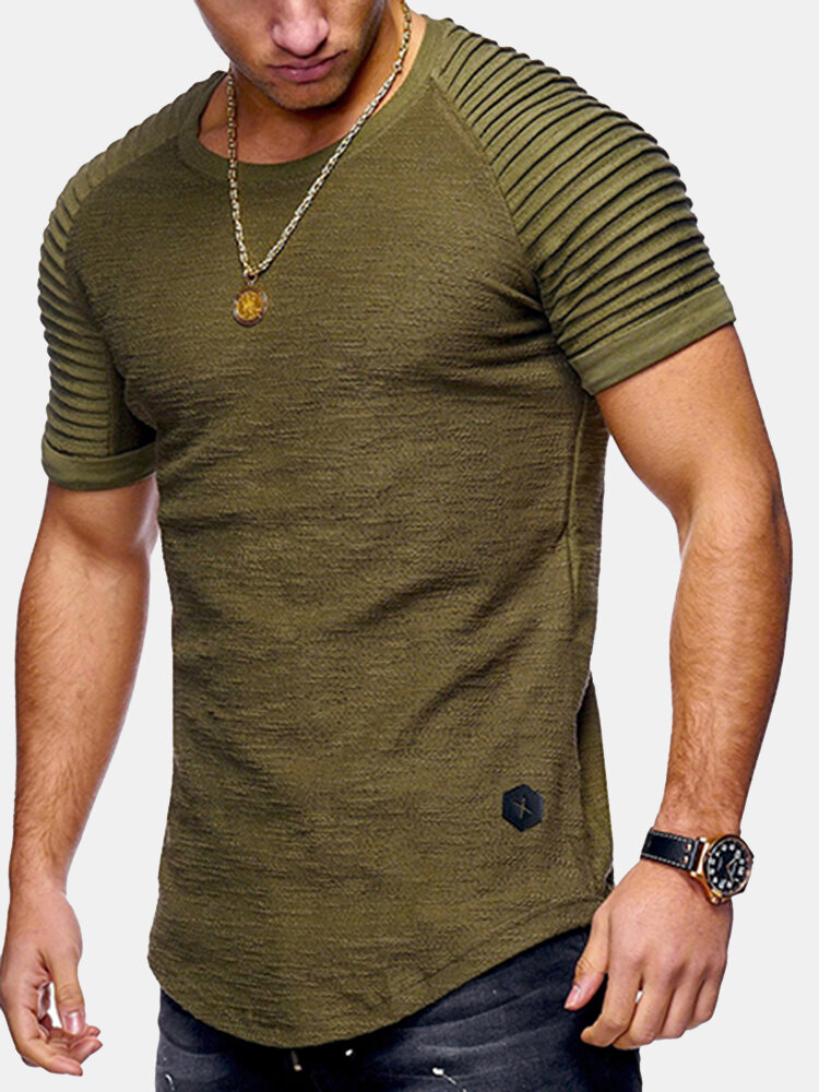 e885de61e44 Mens Summer Breathable Solid Color Irregular Hem O-neck Short Sleeve Slim  Casual T Shirt on sale-NewChic