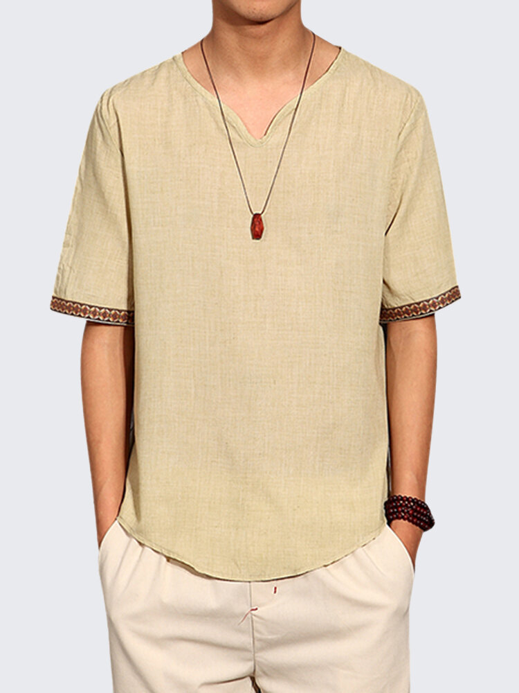 d0749940401 Mens Chinese Style Summer Linen Solid Color Short Sleeve T-shirt V-neck Top  Tee on sale-NewChic