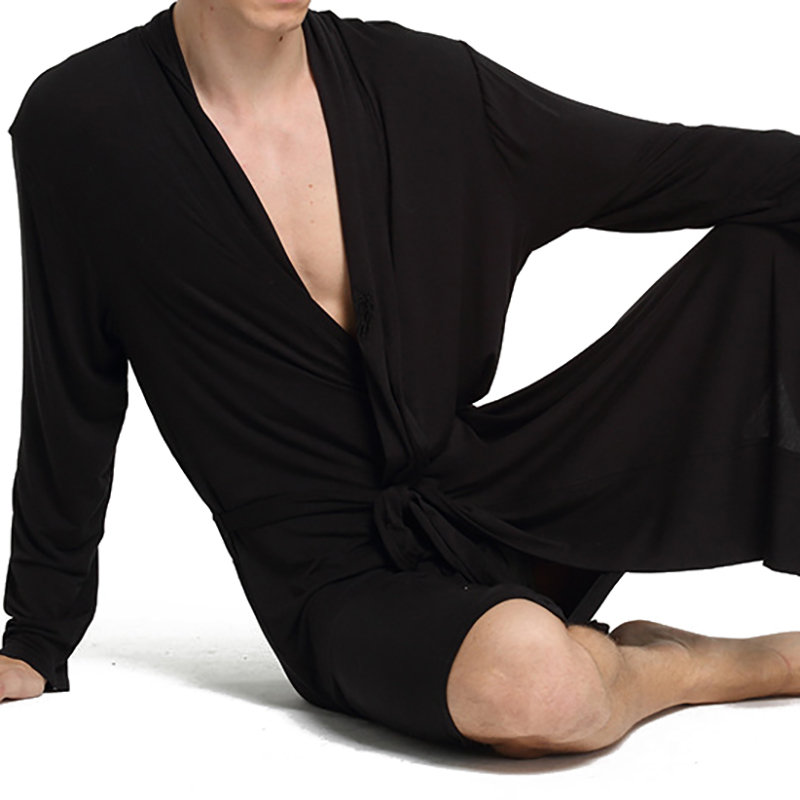 Mens 95%Modal Luxury Satin Knitted Nightgown Black Home Solid Color Soft  Bath Sleep Robe Designer Online - NewChic 3bf9b4d59