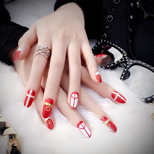 Fashion Red Nail Tips Wedding False Nail Extension Nail Metal Decoration Manicure Tool