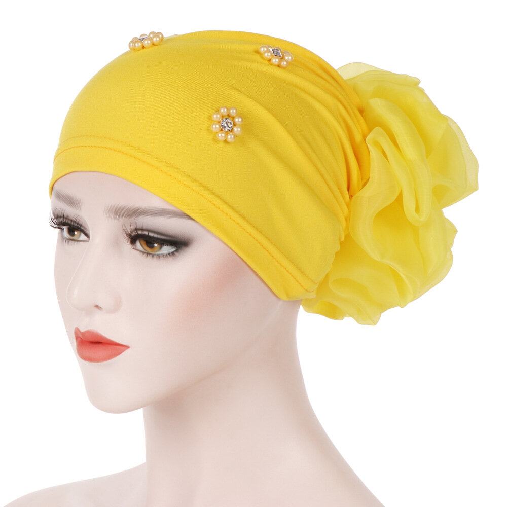 Women Pan Flower Hat Oversized With Flower Headscarf Beanies Hat Solid  Color Beaded Cotton Cap Online Cheap - NewChic 70fc6678f1b9