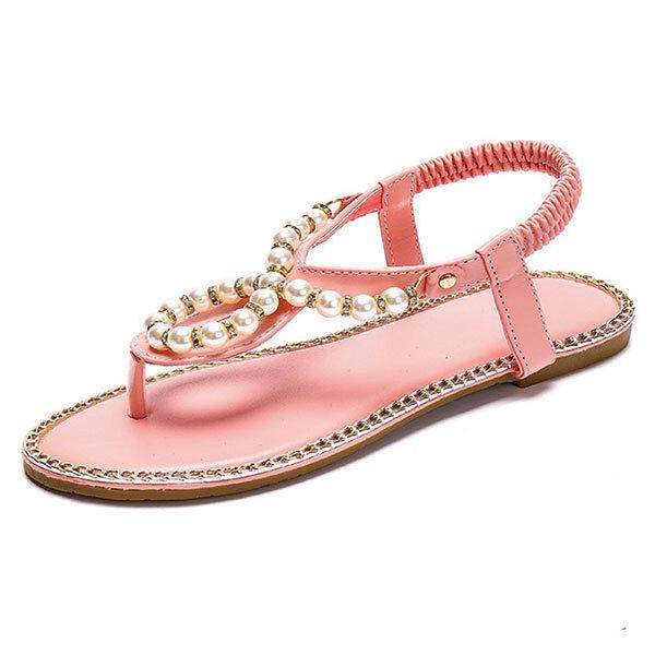 ff47435a38eb High-quality Bohemia Beaded Flip Flops Elastic Beach Flat Sandals - NewChic