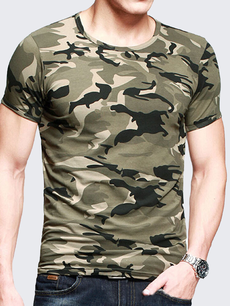 4347e7eaeaa2 Mens Camouflage Army Green Wicking Tees Tight Sports Fitness Training T  Shirts on sale-NewChic