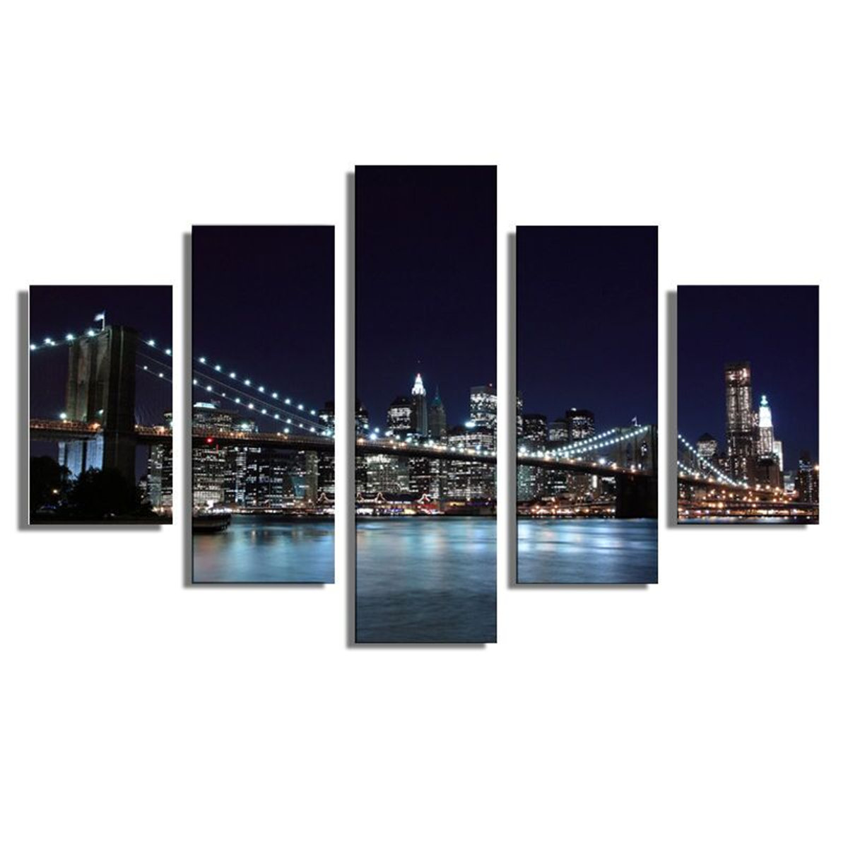 5Pcs Landscape New York City Painting Picture Canvas Print Home Decor Wall Art