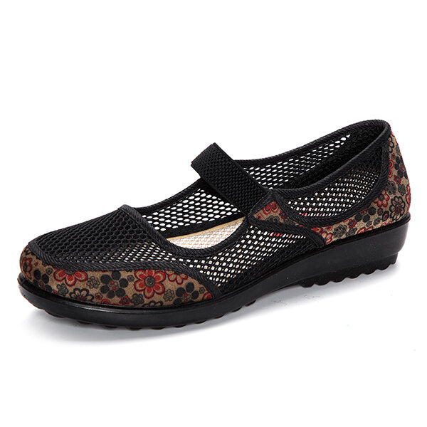 75b43d1fd27 Hot-sale Laege Size Mesh Breathable Flower Printing Wedge Heel Loafers -  NewChic